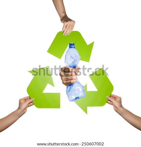 Plastic and pet recycling- studio shot of a squeezed plastic bottle isolated on white background - stock photo