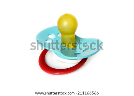 Plastic baby pacifier isolated on white  background - stock photo