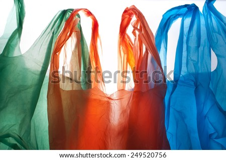 plastic bags background, clipping path included - stock photo