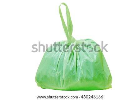 Plastic bags from the mall.Green  plastic  bag isolated on white background
