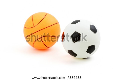 plastic basketball, football or Soccer with white background