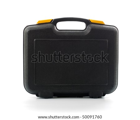 Plastic black case with tools isolated on white - stock photo