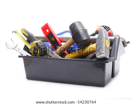 Plastic black toolbox with tools over white background - stock photo