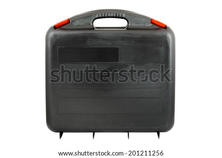 Plastic black toolcase with red tabs. Isolated on white background with clipping path. - stock photo