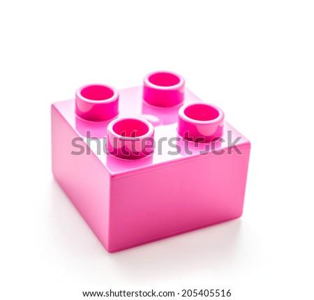 Plastic blocks toy isolated on white - stock photo