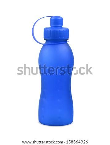 plastic blue bottle on white background. - stock photo