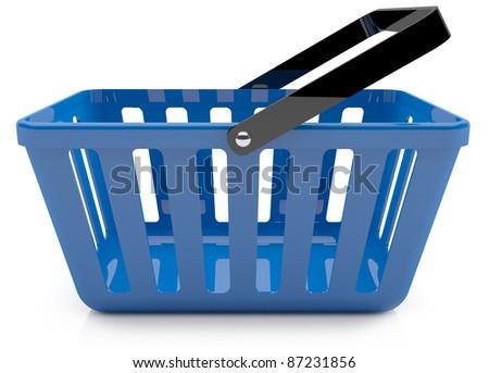 Plastic blue shopping basket. 3D model - stock photo