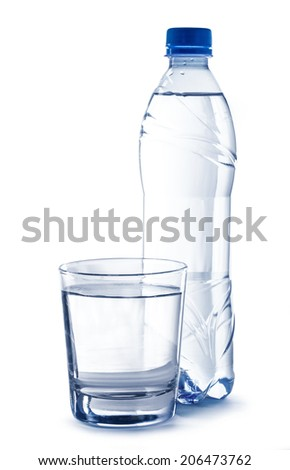 Plastic bottle and glass of water