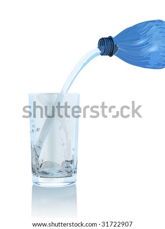 Plastic bottle and glass on white background