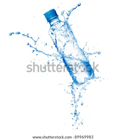 Plastic bottle and water splashes and drops isolated on a white background - stock photo