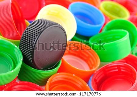 plastic bottle caps - stock photo
