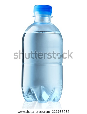 Plastic bottle of drinking water isolated Clipping Path