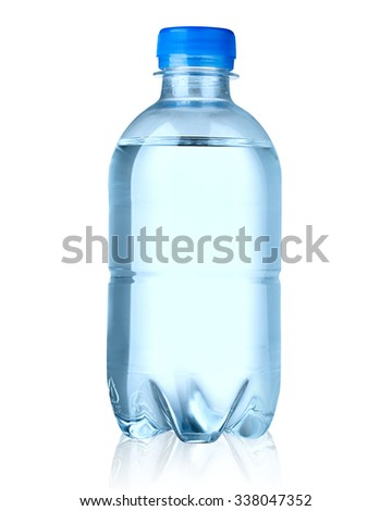 Plastic bottle of drinking water isolated Clipping Path - stock photo