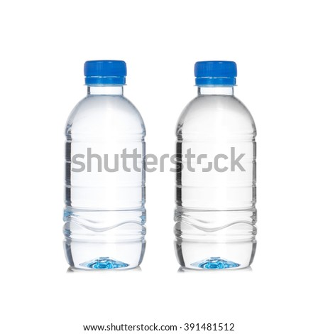 Plastic bottle of drinking water isolated on white