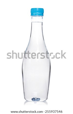Plastic bottle of drinking water isolated on white background. - stock photo