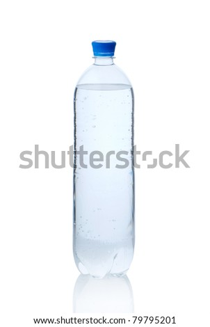 Plastic bottle of mineral water isolated on white - stock photo