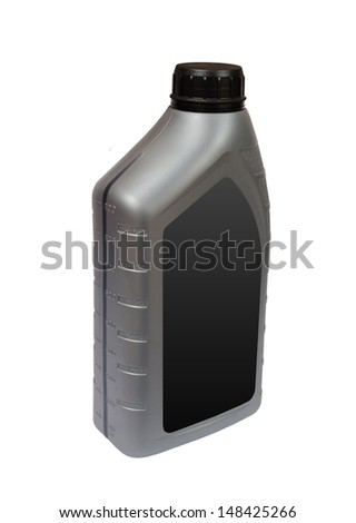 plastic bottle of motor oil with blank label isolated on white - stock photo