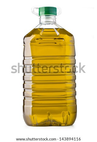 Plastic bottle of olive oil with handle on white background  - stock photo