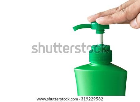 Plastic bottle of skin care isolated  on white background - stock photo