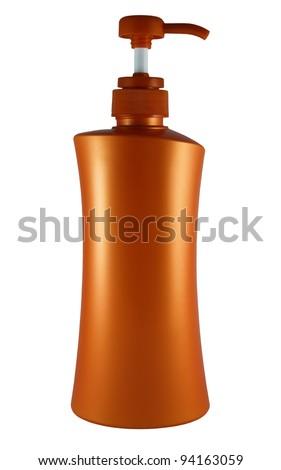 Plastic bottle of skin care product on white background - stock photo