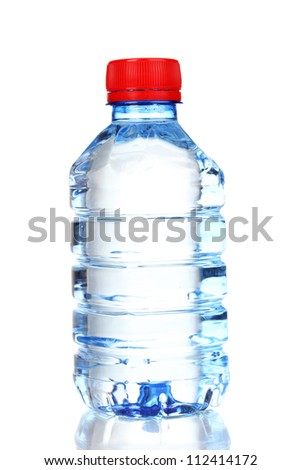 plastic bottle of water isolated on white - stock photo