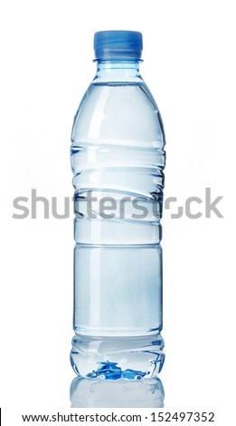 plastic bottle of water on a white background - stock photo