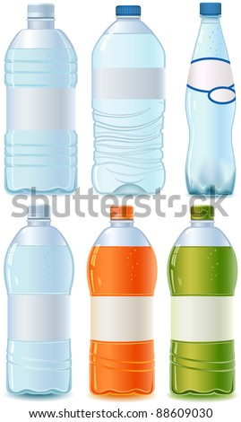 Plastic bottle of water. Orange, Cola and Green Tea. Isolated on white. Empty label. Design template. - stock photo