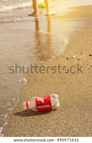 Plastic Bottle on the Beach, Environmental pollution