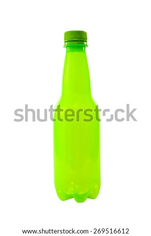 plastic bottle on white - stock photo