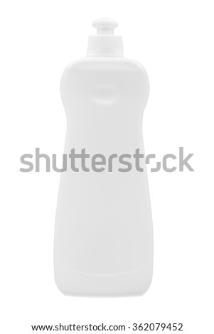 Plastic bottle with batcher on a white background, detergent for cleaning and cleaning, nobody. - stock photo