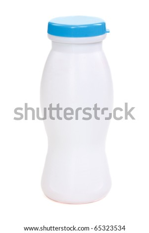 Plastic bottle with blue lid on white background