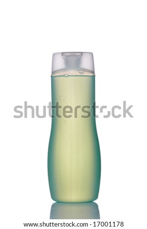 Plastic bottle with soap or shampoo without label reflected on white background - stock photo