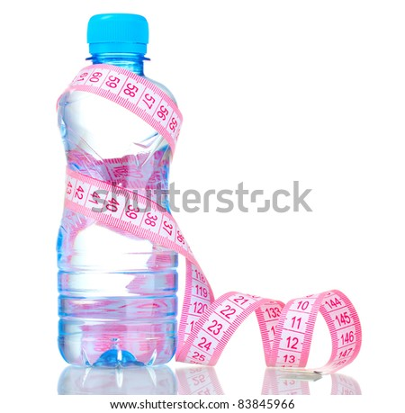 plastic bottle with water and measuring tape isolated on white