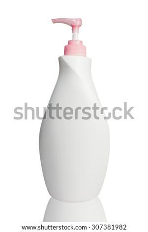 plastic bottles. Cosmetic packaging  on  white background - stock photo