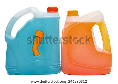 Plastic bottles from automobile oils, cleaner, washer and antifreeze isolated on a white background - stock photo