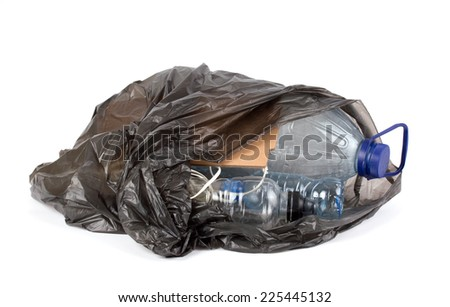 plastic bottles in a garbage bag - stock photo