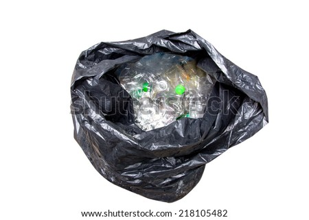 plastic bottles in garbage bag  - stock photo