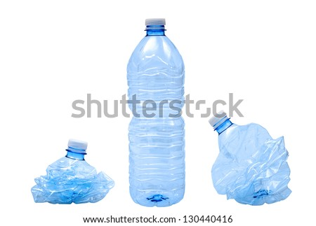 Plastic bottles isolated on white - stock photo