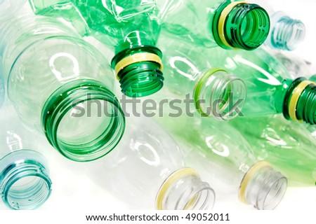Plastic bottles isolated on white background - stock photo