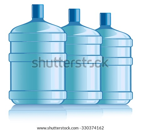 Plastic bottles of drinking water . Raster version. - stock photo