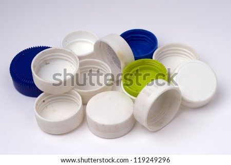 Plastic bottles stack to recycle. - stock photo