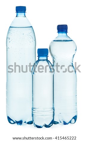 Plastic bottles with water isolated on white background - stock photo