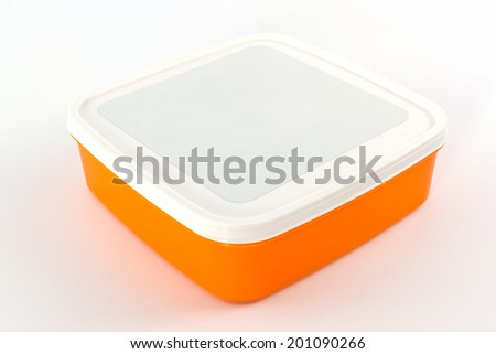 Plastic box package on white background. - stock photo