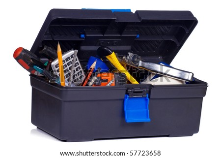plastic box with tools on white - stock photo
