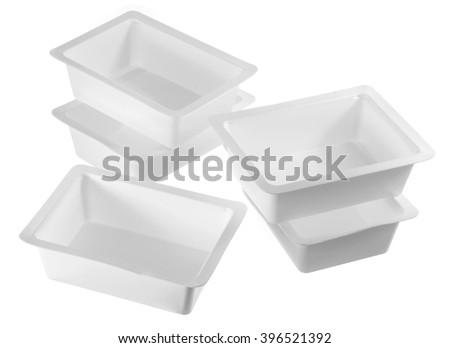 Plastic Boxes on White Background - stock photo