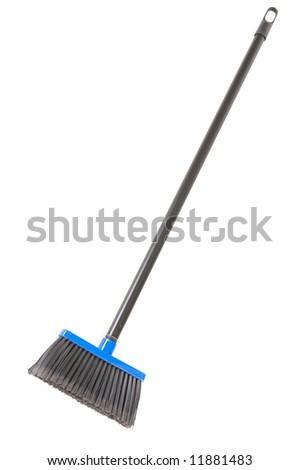 plastic broom isolated on white background - stock photo
