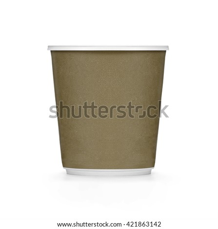 Plastic brown coffee cup on white background - stock photo