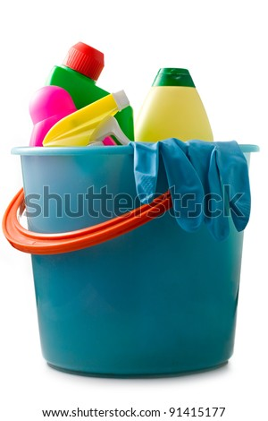 Plastic bucket with cleaning supplies - stock photo