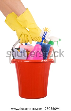 Plastic bucket with cleaning supplies on white background