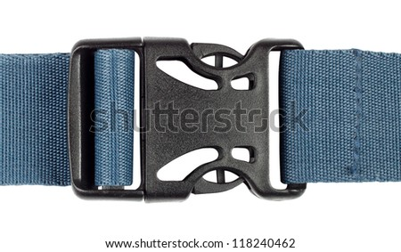Plastic buckle with a blue belt isolated on white background - stock photo